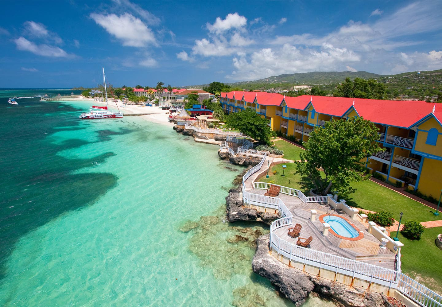 bird eye view of the Sandals Montego Bay resort in Jamaica