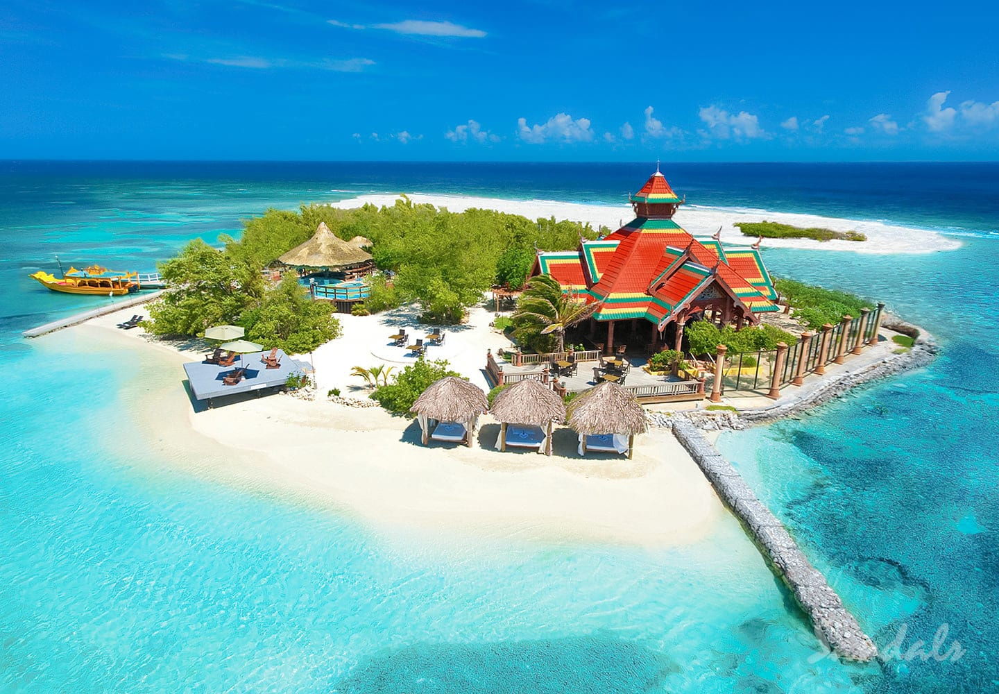 island view of the Sandals Royal Caribbean luxury resort and private island