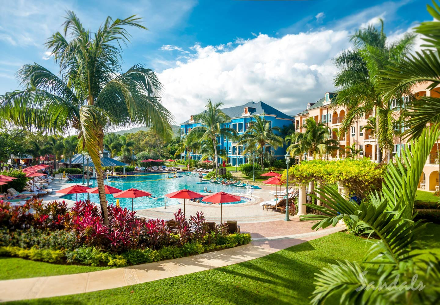 birdeye view over the Sandals Whitehouse Jamaica resort, now Sandals South Coast, resort can be booked through Southern Travel Agency Augusta, GA