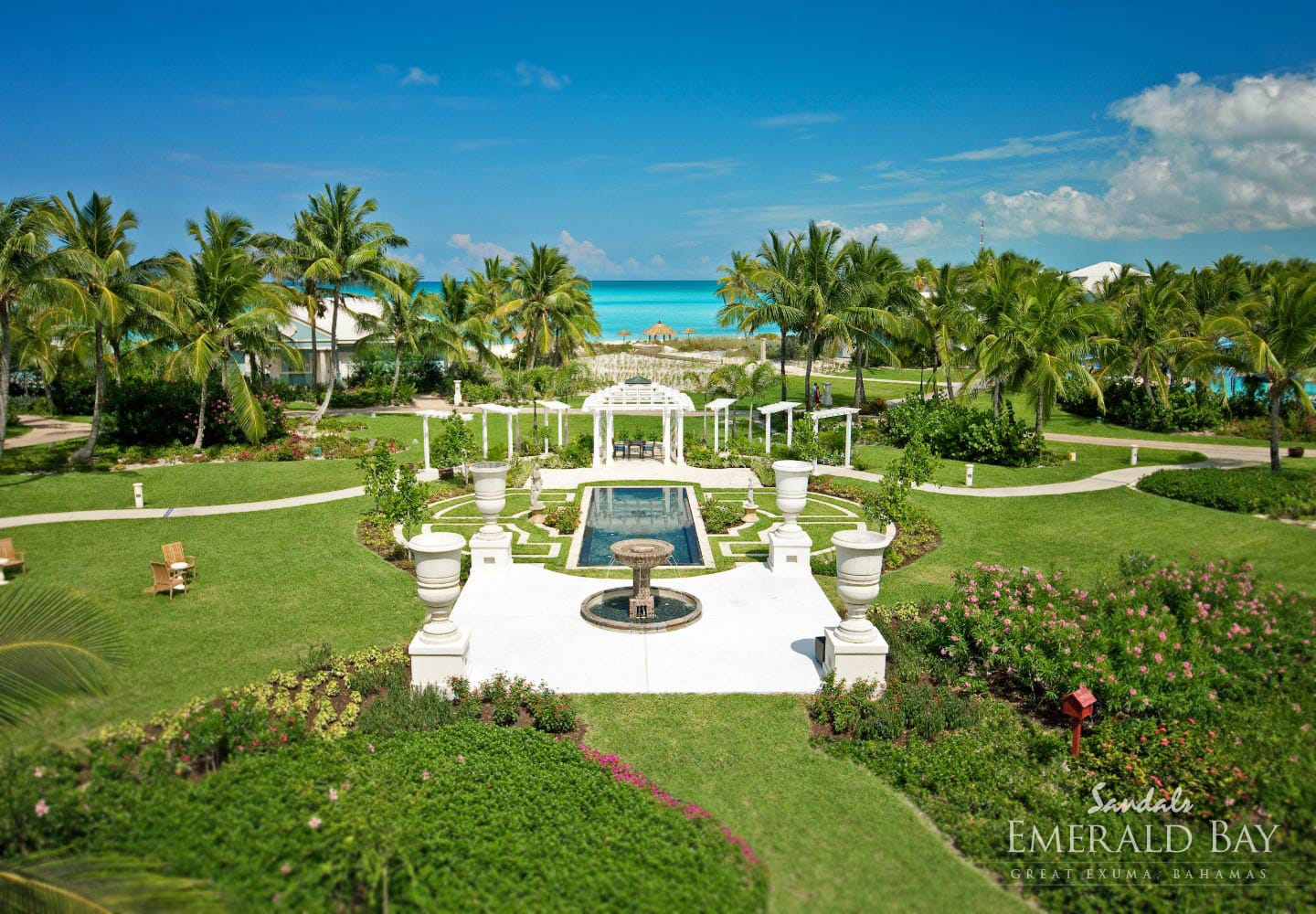 birdeye view over the Sandals Emerald Bay in the exotic Bahamian out islands, vacation can be planned with Southern Travel Agency Augusta, GA