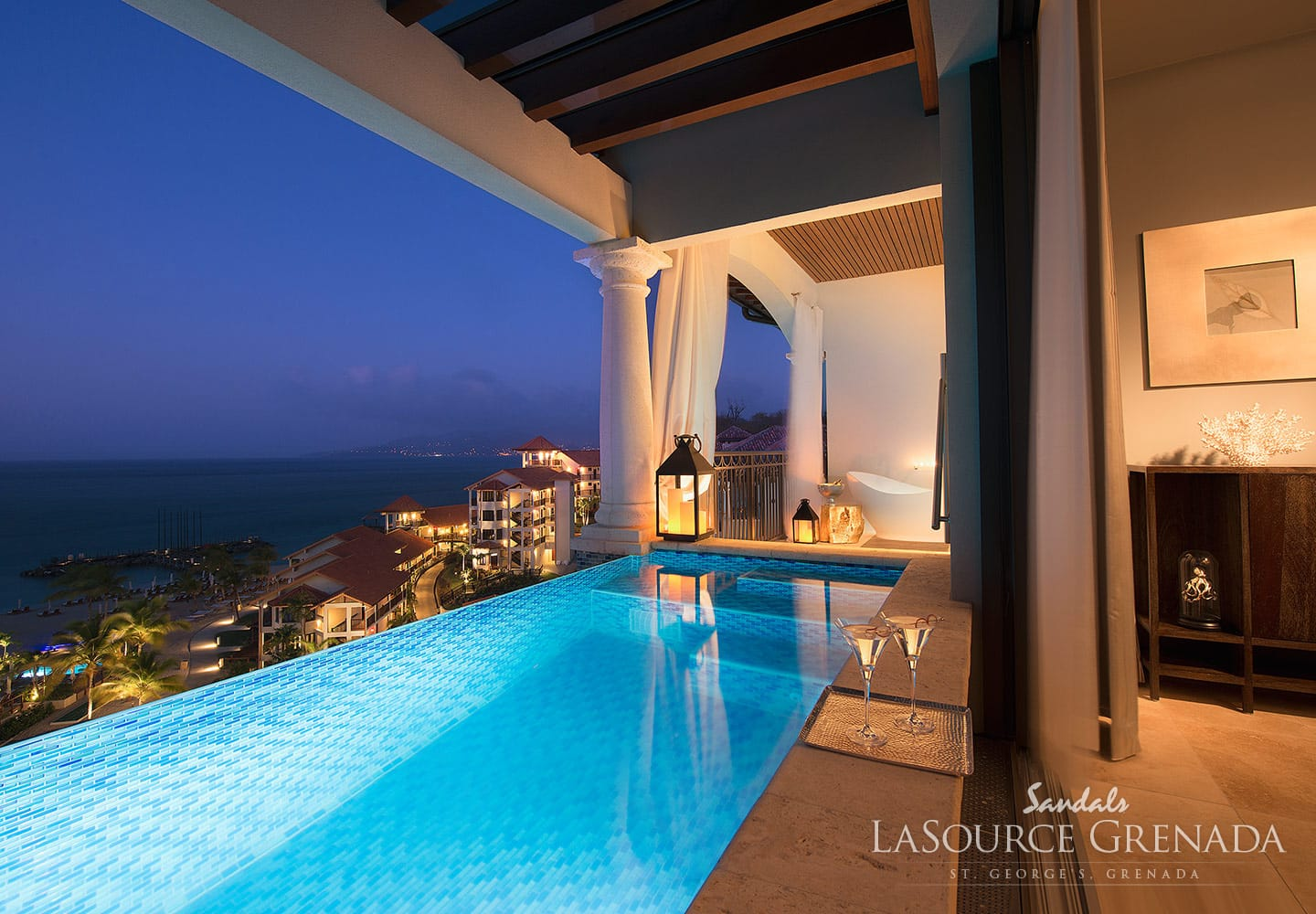 private pool in private room, overseeing the coast and ocean at the Sandals LaSource Grenada Luxury Resort, adult only vacation can be booked with Southern Travel Agency Augusta, GA