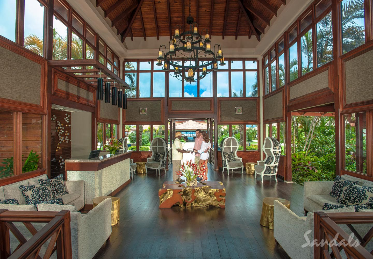 entrance hall and reception at the Sandals LaSource Grenada Luxury Resort, adult only vacation can be booked with Southern Travel Agency Augusta, GA