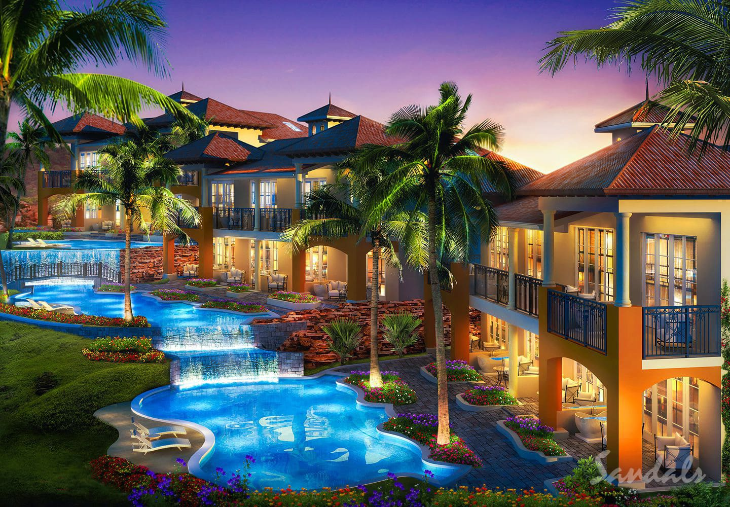 pools with waterfalls at the Sandals LaSource Grenada luxury resort, can be booked as an adult only vacation with Southern Travel Agency Augusta, GA