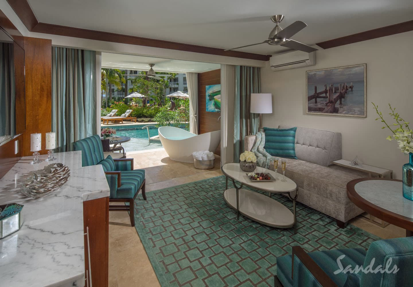private suite at the Sandals Barbados resort, adults only all inclusive resort, offered by Southern Travel Agency Augusta, GA, local travel agency near me