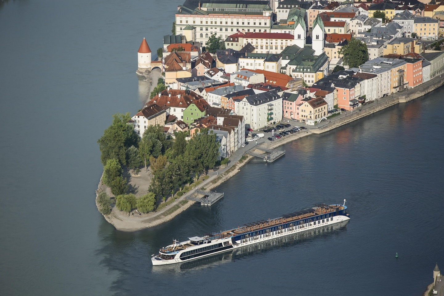 an AmaWaterways luxury river cruise cruising along Passau, Germany, family vacation packages can be booked with Southern Travel Agency Augusta, GA