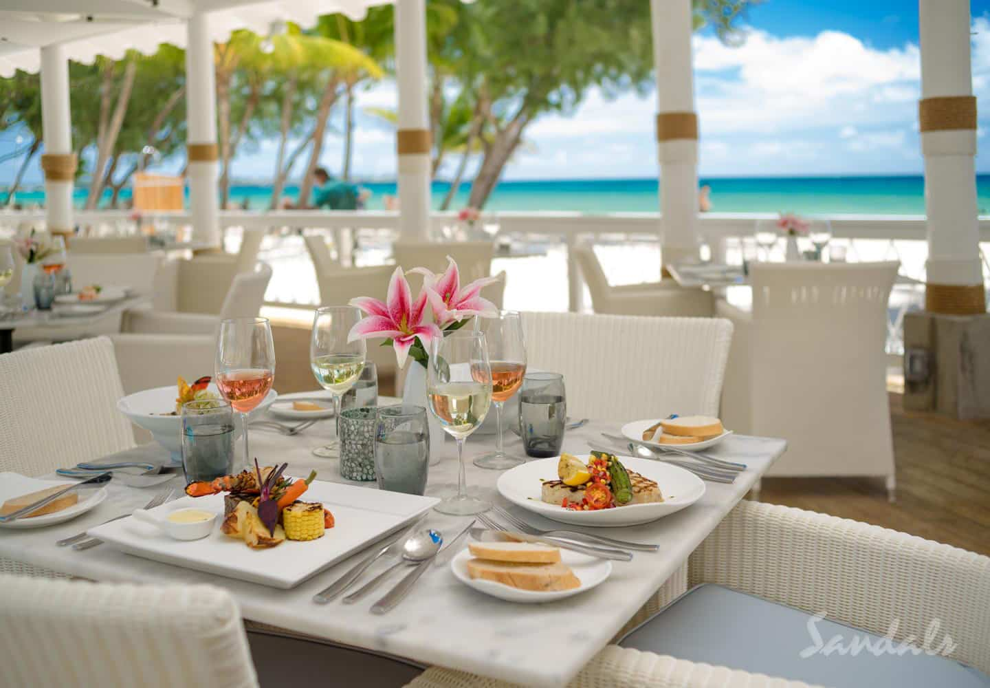 luxury breakfast dining area at the adult only Sandals Barbados resort, adult only vacations can be booked with Southern Travel Agency Augusta, GA