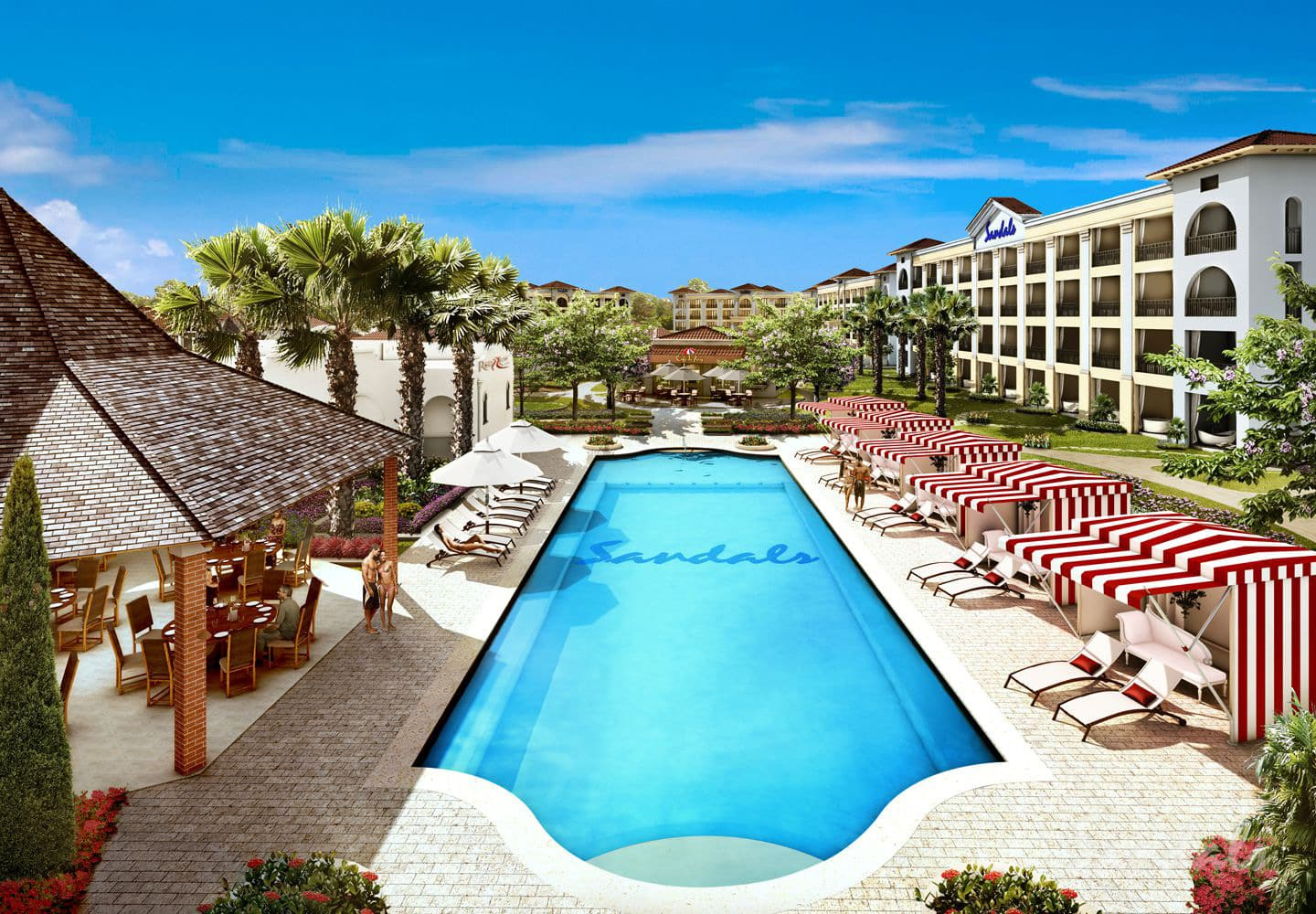 pool at the Sandals Barbados resort, adult only vacations can be booked with Southern Travel Agency Augusta, GA