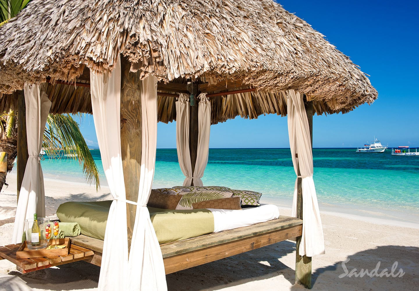 A Beach Bed At The Sandals Montego Bay Resort In Jamaica Perfect For All Inclusive