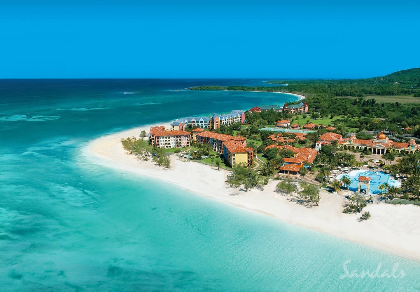 birdeye view of Sandals Whitehouse , now Sandals South Coast in Jamaica, an all inclusive resort, bookings available with Sandals travel agent Southern Travel Agency Augusta, GA