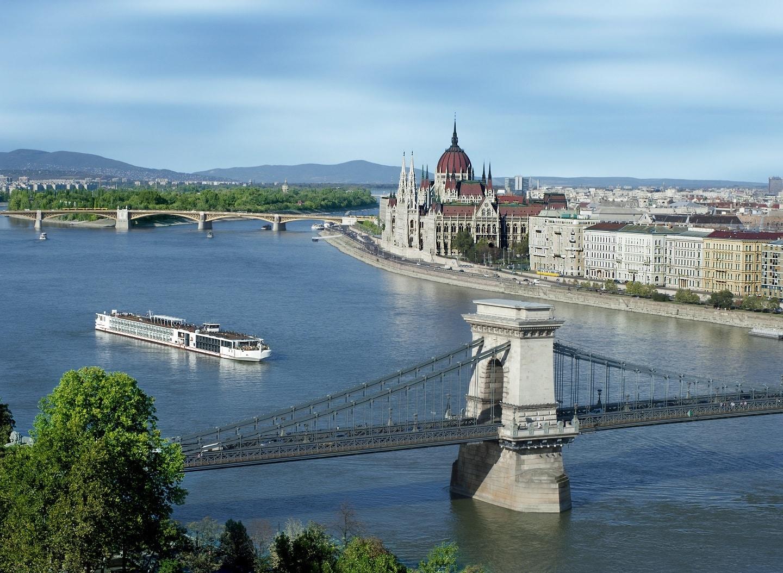 Viking river cruise longship in Budapest