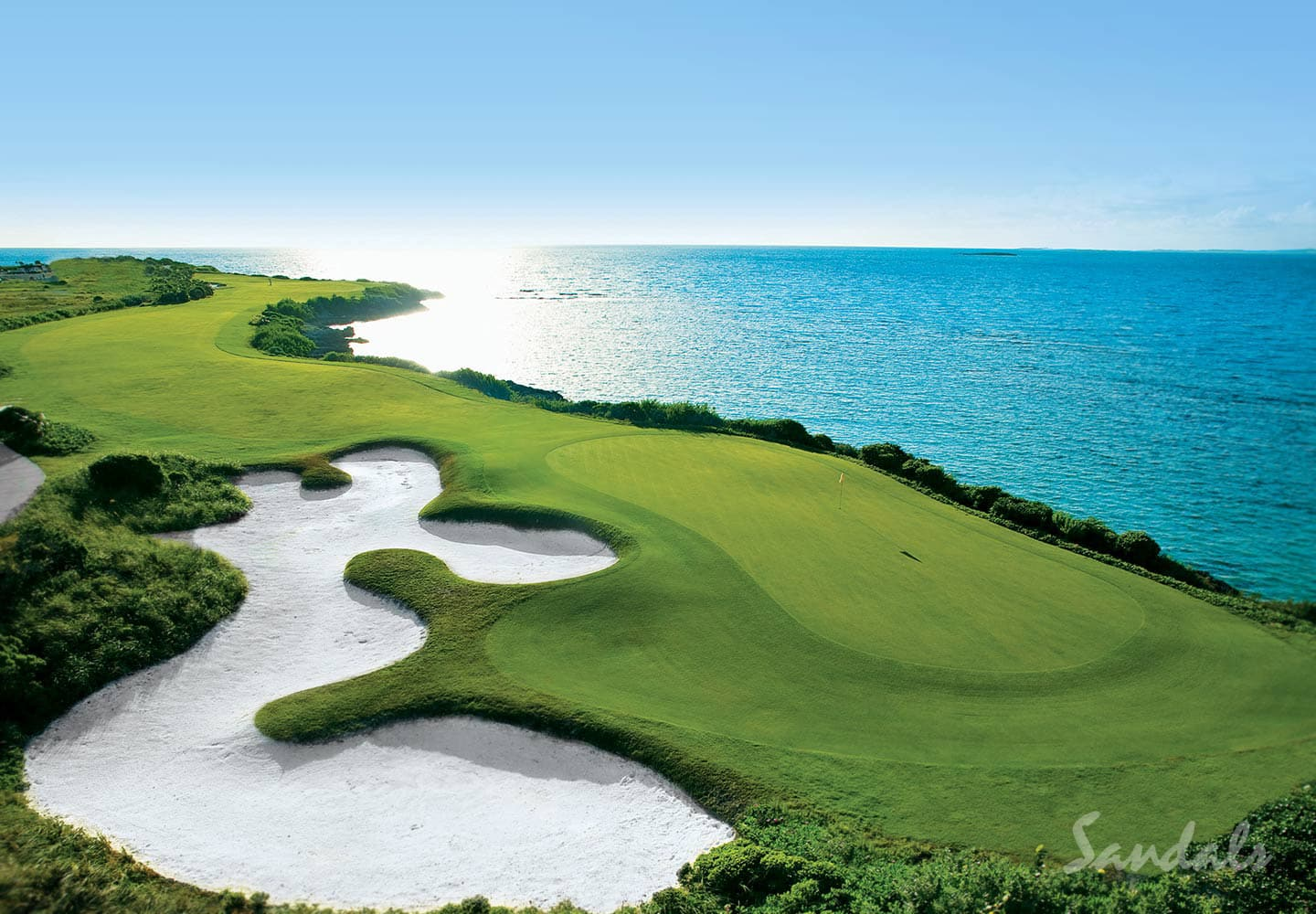 bird eye view of the Sandals Emerald Bay Golf, Spa and Tennis Resort at Great Exuma, Bahamas, vacation packages adults only, Southern Travel Agency, Augusta, GA