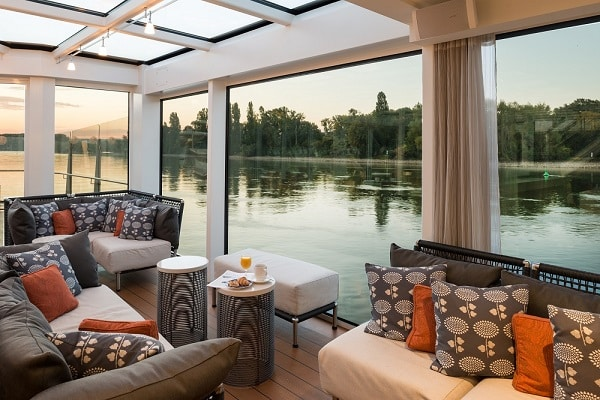 Aquavit Terrace at dawn onboard the Viking River Cruise Longship Hlin with the Upper Middle Rhine Valley in Germany out the windows