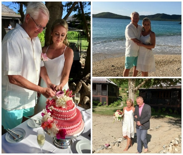 Ginger and Alan at the breathtaking Hermitage Bay Resort for their intimate Antigua destination wedding