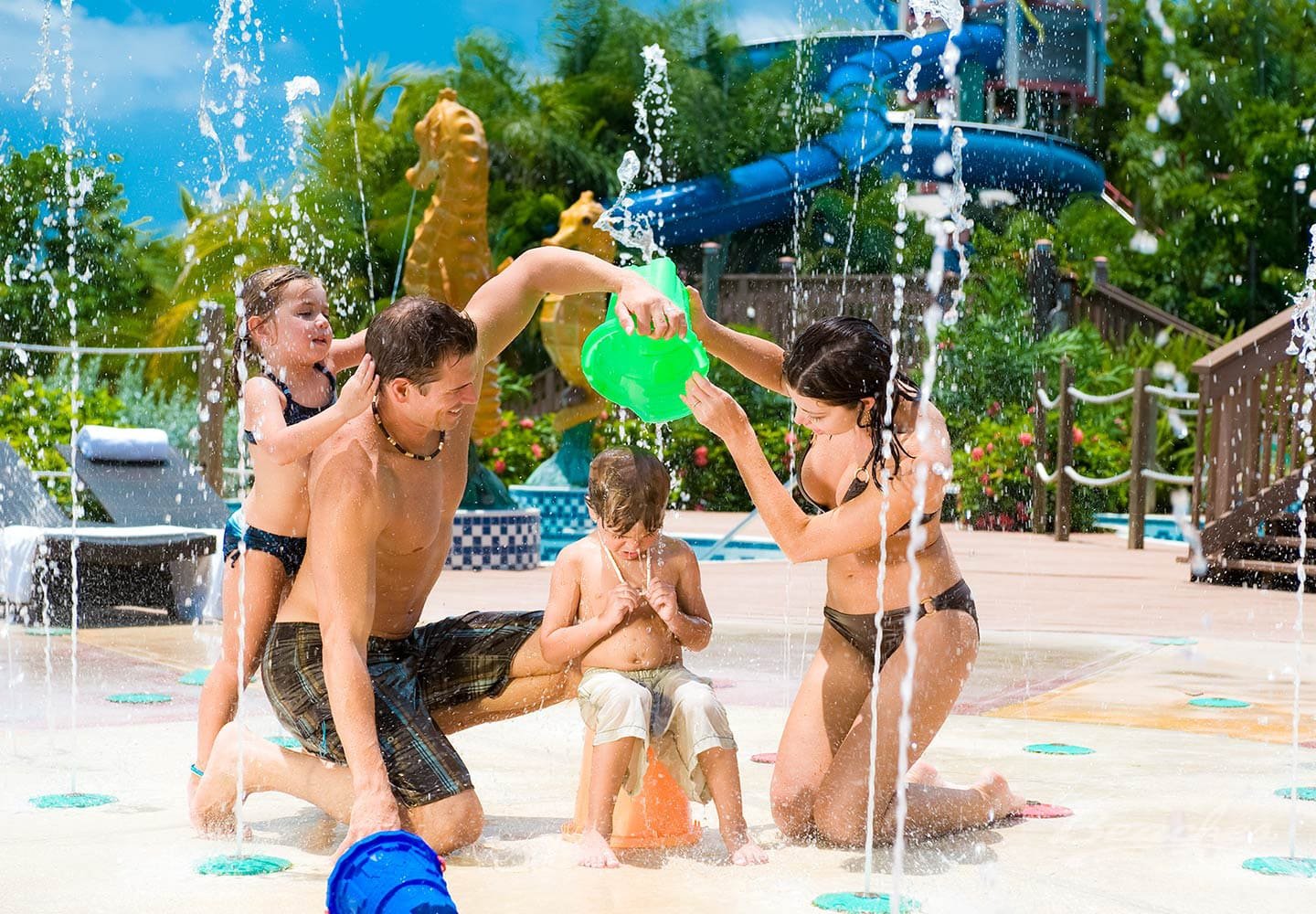 family playing in a pool at the Beaches Negril family resort in Jamaica, all inclusive group vacation packages