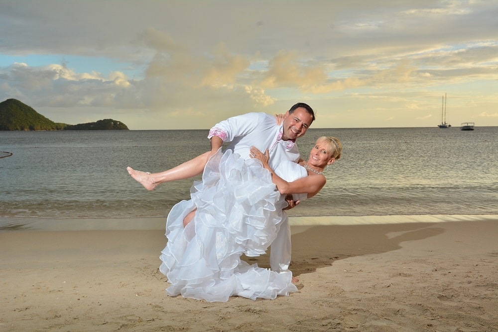 bride and groom at the beach, Sandals La Grande St Lucia beach wedding