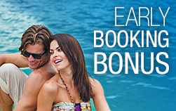 couple sitting with their backs to each other, Sandals early booking bonus for their Sandals vacation deals