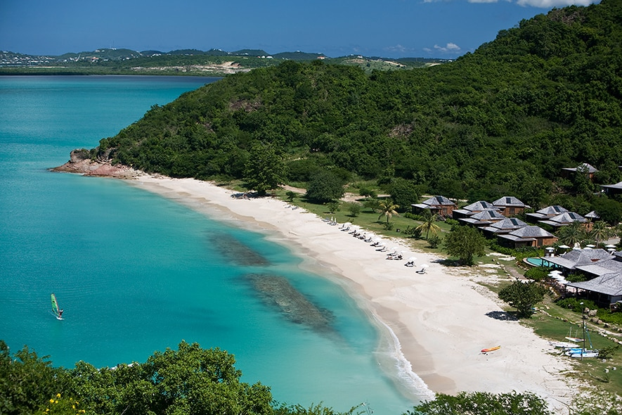 bird eye view of the luxury Hermitage Bay resort in Antigua, all inclusive resorts