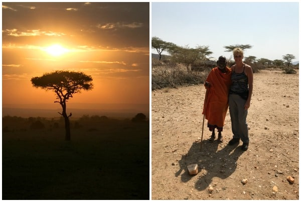 sunset in africa in the left picture, our client with a local african in the right picture, luxury african safari client trip