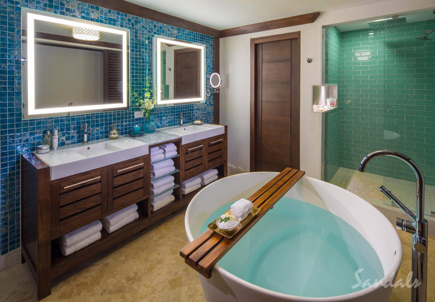 luxury private bathroom in a private room at the Sandals Barbados St Lawrence Gap, all inclusive group vacation packages