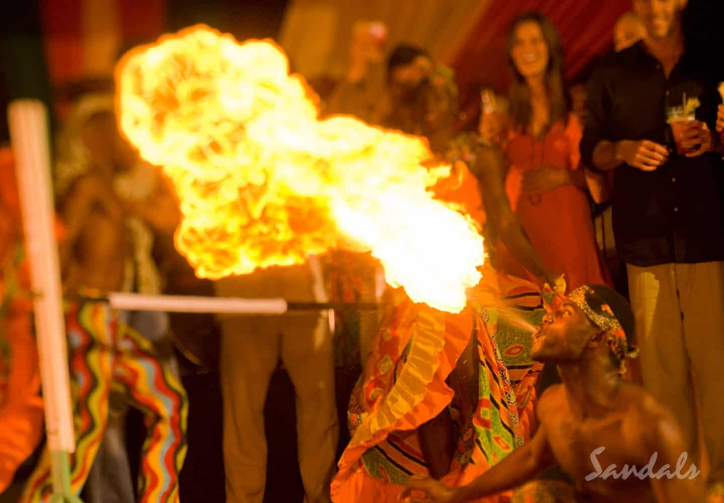 evening entertainment at the Sandals Montego Bay resort in Jamaica, All Inclusive Adults Only Vacation Packages