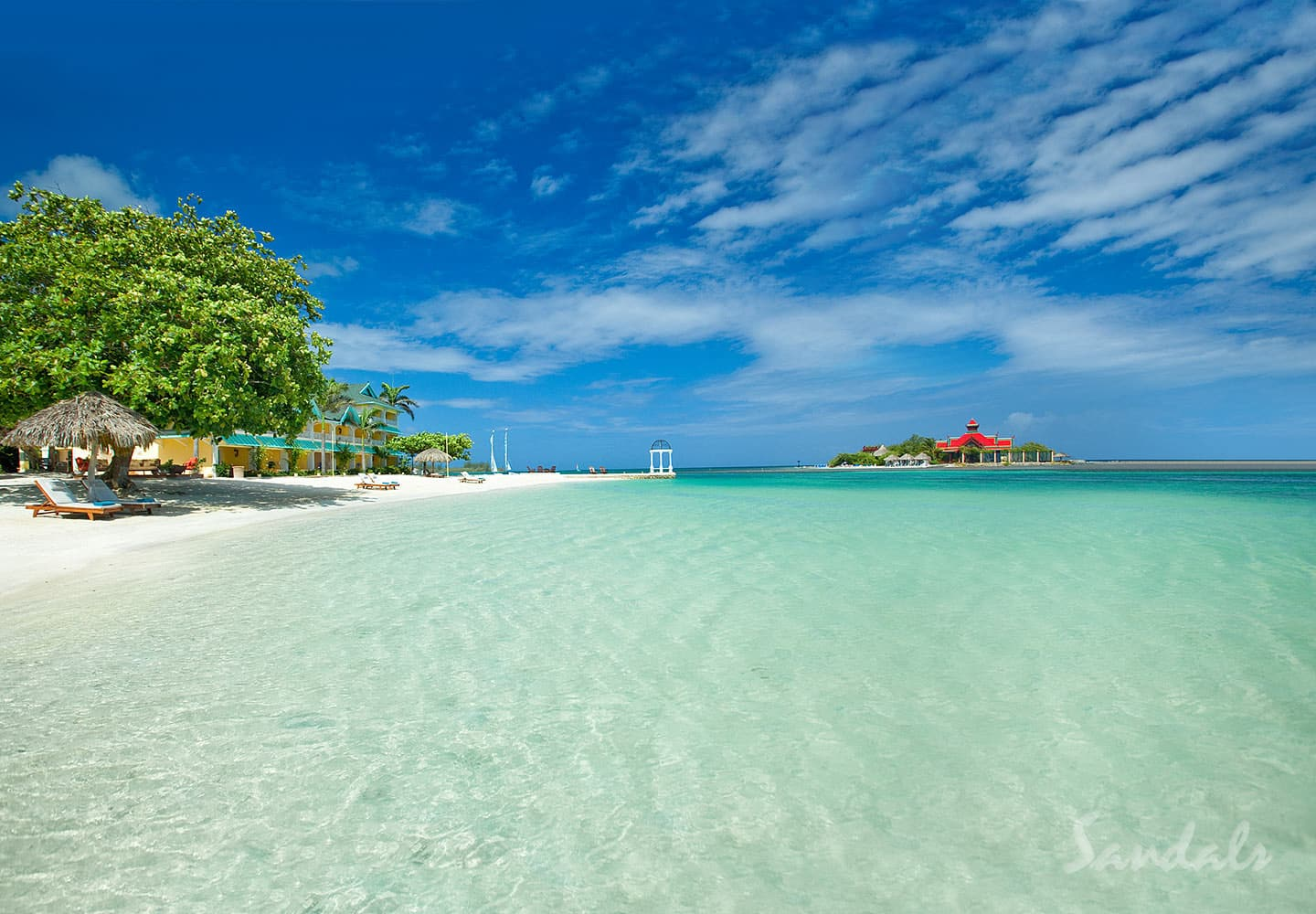 sandy beach at the Sandals Royal Caribbean resort and private island in Jamaica, all inclusive adult only vacation packages
