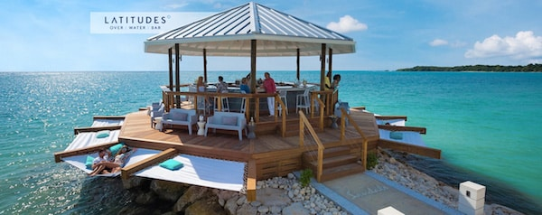 Sandals South Coast Latitudes bar, in Jamaica's clear blue waters