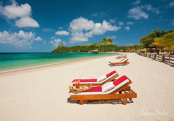 Most romantic all inclusive resorts Sandals Grande St. Lucian mountains and ocean