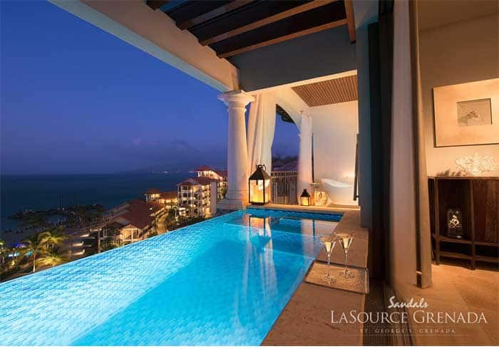 private suite in luxury Sandals LaSource resort in Grenada