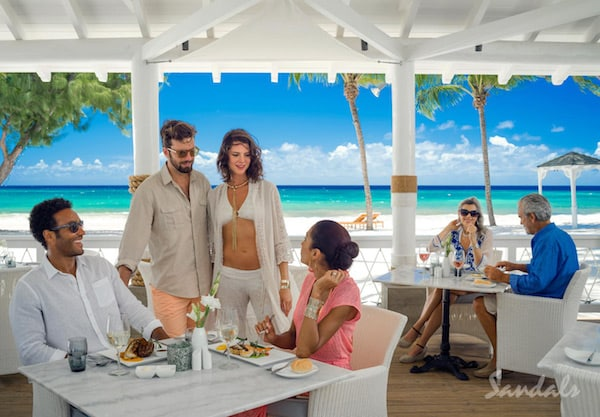 Sandals Royal Barbados restaurant on beach pictures