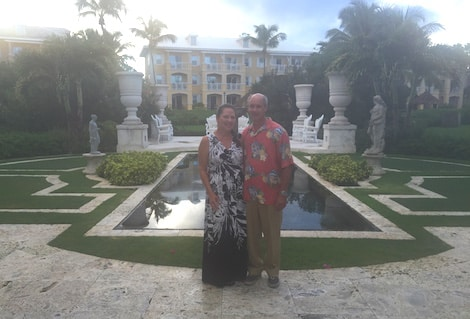 Mike and Lauren Kerbelis at the luxury Sandals Emerald Bay Resort