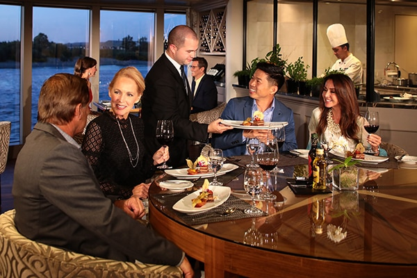 couples eating award winning dinner meals on board of an AmaWaterways river cruise