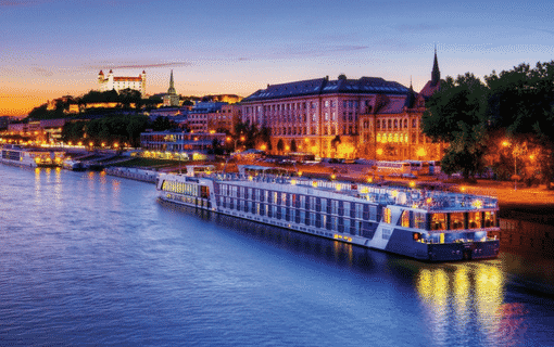 light up night sky, AmaWaterways river cruise Amalyra in Bratislava, cruise trip planned by Southern Travel Agency Augusta, GA